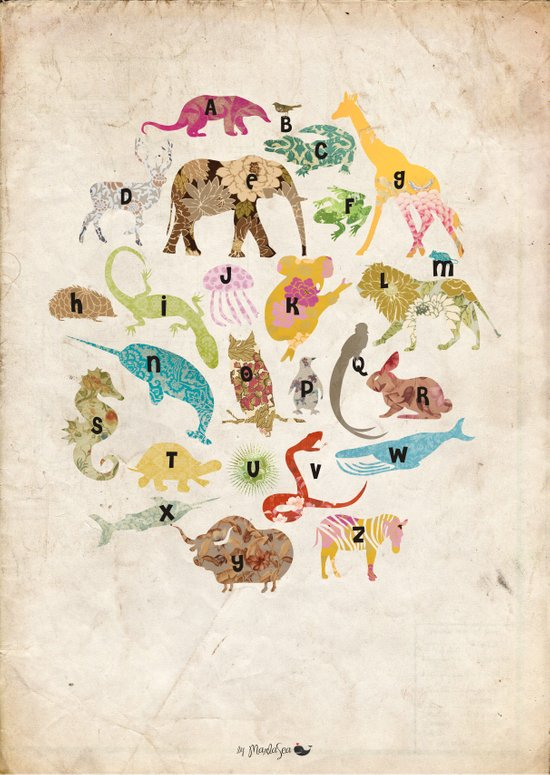 Animals Alphabet Art Print