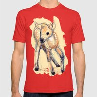 Wobbly Deer Mens Fitted Tee Red SMALL