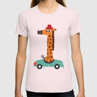 Giraffe Driver Womens Fitted Tee Light Pink SMALL