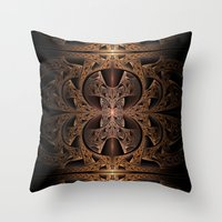 Steampunk Engine Abstract Fractal Art Throw Pillow
