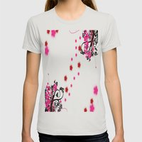 Neon Flower Womens Fitted Tee Silver SMALL