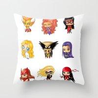Chibi Heroines Set 3 Throw Pillow