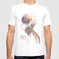 Fashion illustration profile portrait gold black white markers and watercolors White Mens Fitted Tee SMALL