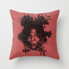 Basquiat botanical portrait Throw Pillow