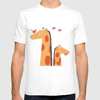 Giraffes Mens Fitted Tee White SMALL