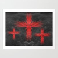 3 Crosses Art Print
