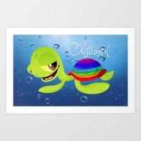 Chillaxin' Turtle Art Print