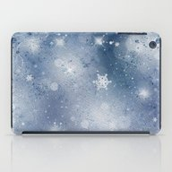 Silver Blue Snowflakes iPad Case