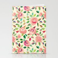 Pastel Roses in Blush Pink and Cream  Stationery Cards