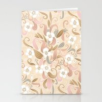 Floral Curve Pattern, Ro… Stationery Cards