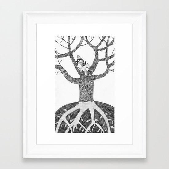 Winter reading Framed Art Print