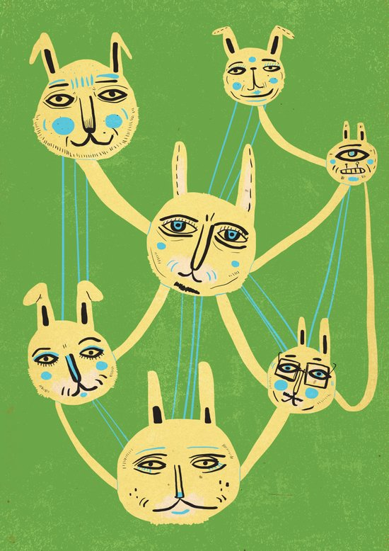 Connected Rabbits Art Print