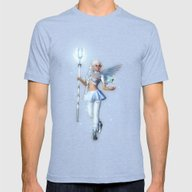 Angelbeat Mens Fitted Tee Tri-Blue SMALL