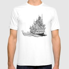 Snail Temple White SMALL Mens Fitted Tee