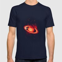 SATURN SKATING Mens Fitted Tee Navy SMALL