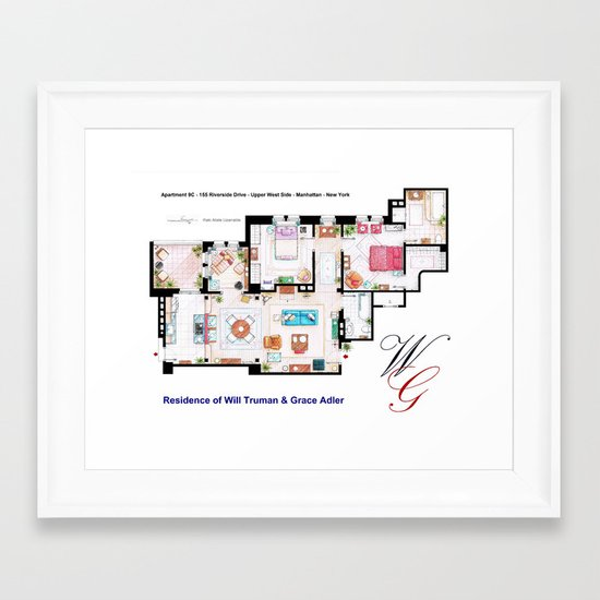 Apartment of Will Truman and Grace Adler - Floorplan Framed Art Print