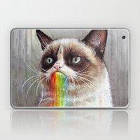 Cat Tastes the Grumpy Rainbow | Watercolor Painting Laptop & iPad Skin