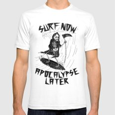 Surf Now, Apocalypse Later Mens Fitted Tee White SMALL
