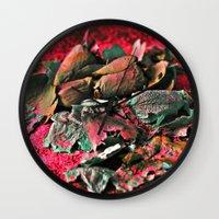 MOONROSE on RED ROSEMOON  Wall Clock