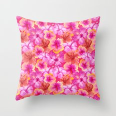 Tropical hibiscus pattern on pink  Throw Pillow