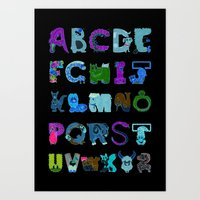 Bendy Zoo Alphabet Animals Art Print
