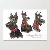 Happy scotties Canvas Print