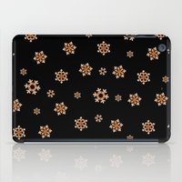 Snowflakes (Orange on Black) iPad Case