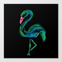 Flamingo black Canvas Print