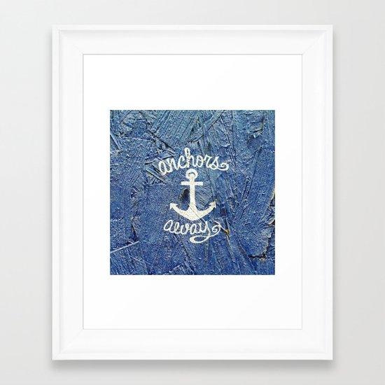 White Nautical Anchors Blue Vintage Wood Texture Framed Art Print