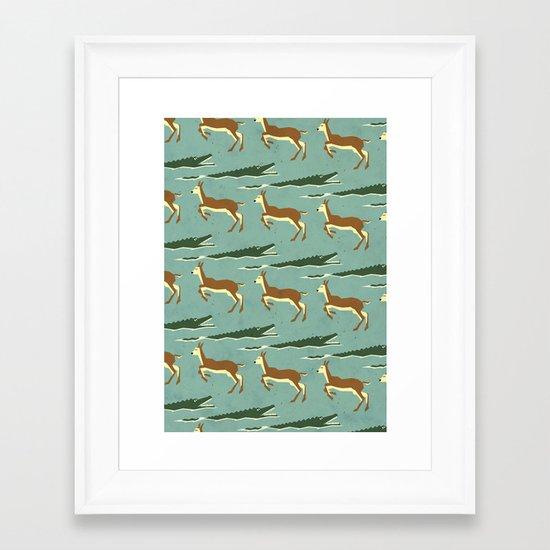 Jumping logs pattern Framed Art Print