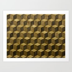 Optical wood cubes Art Print