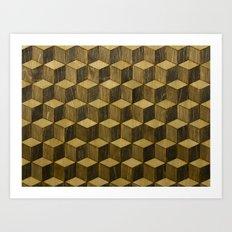 Optical wood cubes Art Print