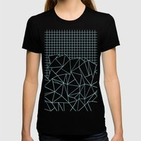 Ab Outline Grid Salty Womens Fitted Tee Black SMALL