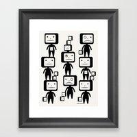 Black Block Heads Framed Art Print