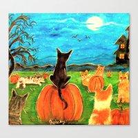 Seven Cats in Pumpkin Patch Canvas Print