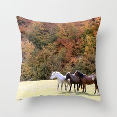 Horses Valley Throw Pillow