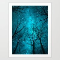 teal Art Prints featuring Stars Can't Shine Without Darkness  by soaring anchor designs