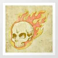 Flaming Skull Art Print