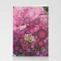 Pink Flowers at Twilight Abstract Stationery Cards