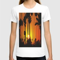 Striped Sunset Womens Fitted Tee White SMALL