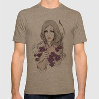 Birth Flower II - Violet Mens Fitted Tee Tri-Coffee SMALL