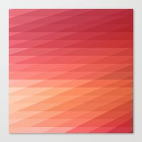 Fig. 044 Coral, Pink & Peach Geometric Diagonal Stripes Canvas Print