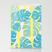 Linocut Monstera Neon Stationery Cards