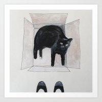 Black Cat Box Art Print