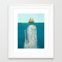 Framed Art Prints featuring The Whale  by Terry Fan