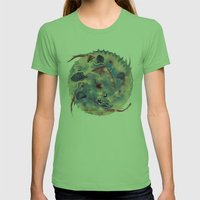 Spiral Stare Face Womens Fitted Tee Grass SMALL