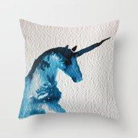 Blue Unicorn Throw Pillow