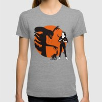 Alien Cartoon Style - Orange Womens Fitted Tee Tri-Grey SMALL