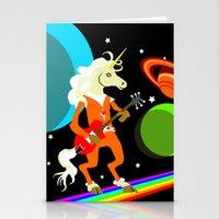 Rockin' Space Unicorn Stationery Cards