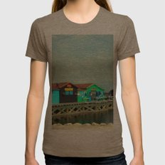 Small colorful Houses at Sea Womens Fitted Tee Tri-Coffee SMALL